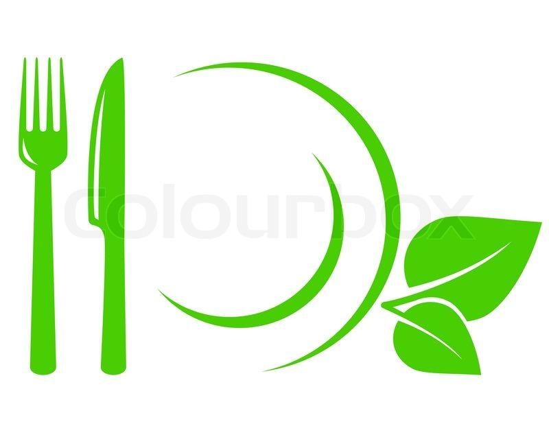 vegetarische icon mit bl ttern gabel und messer stock vektor colourbox. Black Bedroom Furniture Sets. Home Design Ideas
