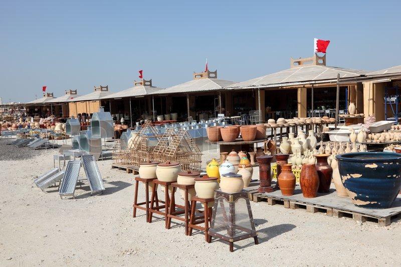 Pottery market in A'Ali, Bahrain,     | Stock image | Colourbox
