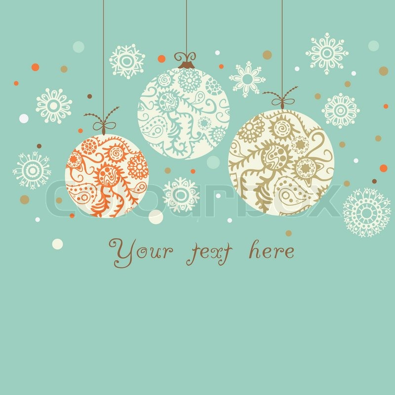 Light blue background with orange blue and brown for Weihnachtskugeln vintage