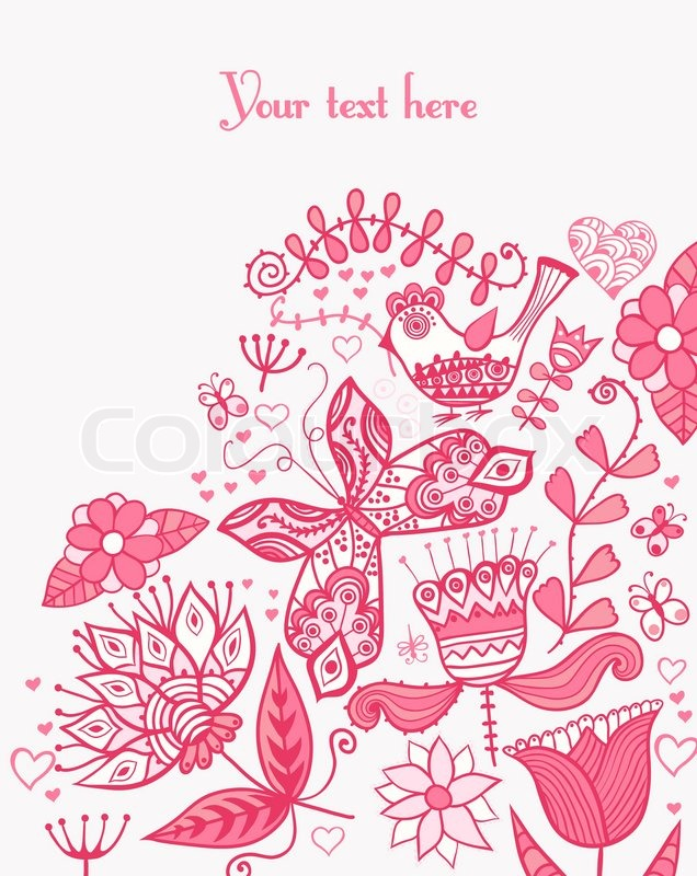 Floral Background Summer Theme Greeting Card Template Design Can Be Used For Packaging