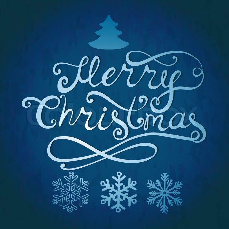 Frohe Weihnachten-Schriftzug. Grußkarte mit Hand gezeichneten ...