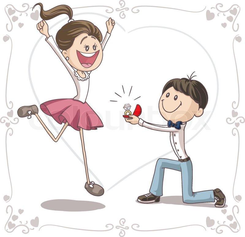 Ehe Vorschlag Vektor Cartoon | Vektorgrafik | Colourbox
