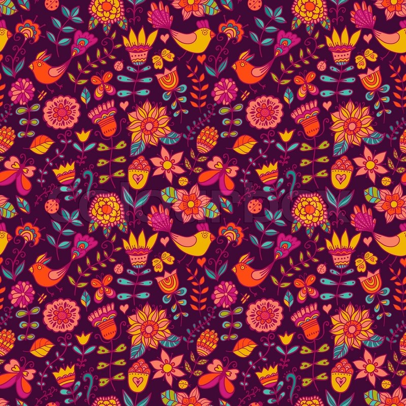 Seamless Texture With Flowers And Birds Endless Floral PatternSeamless Pattern Can Be Used For Wallpaper Fills Web Page Backgroundsurface