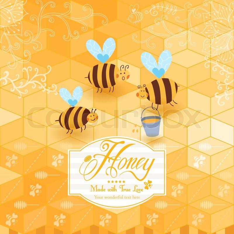 Honig-Vorlage-Hintergrund. Vintage-Rahmen mit Honig, Biene, Honig ...