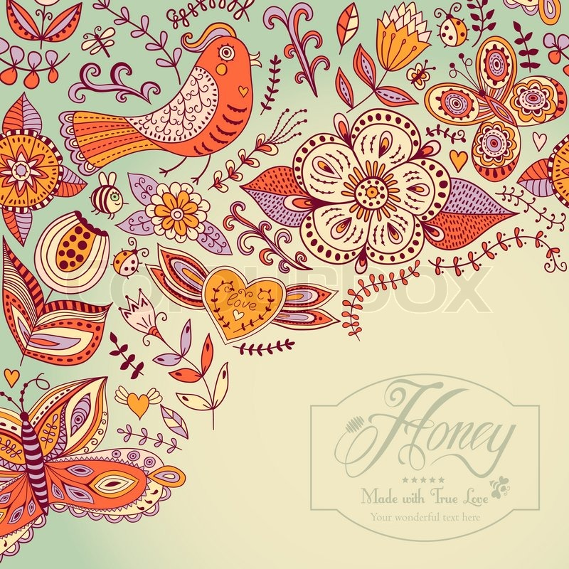 Floral background, summer theme, greeting card. Template design can ...