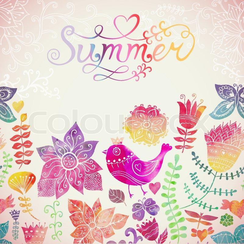 Vektor aquarell blumen gru karte mit sommer schriftzug vintage retro hintergrund mit floral - Vintage bilder kostenlos ...