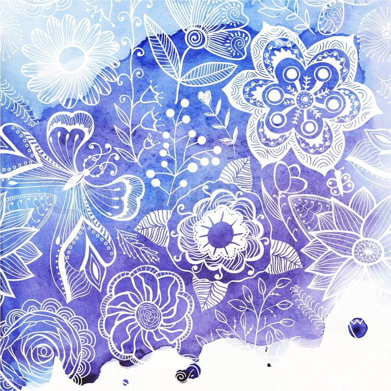 Vector Watercolor Texture With Floral Ornament Wet Paper Blobs