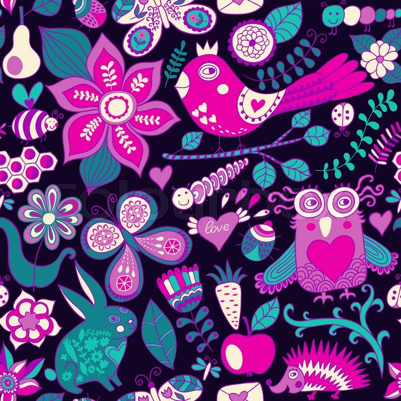 vector forest seamless pattern floral backgroundowl