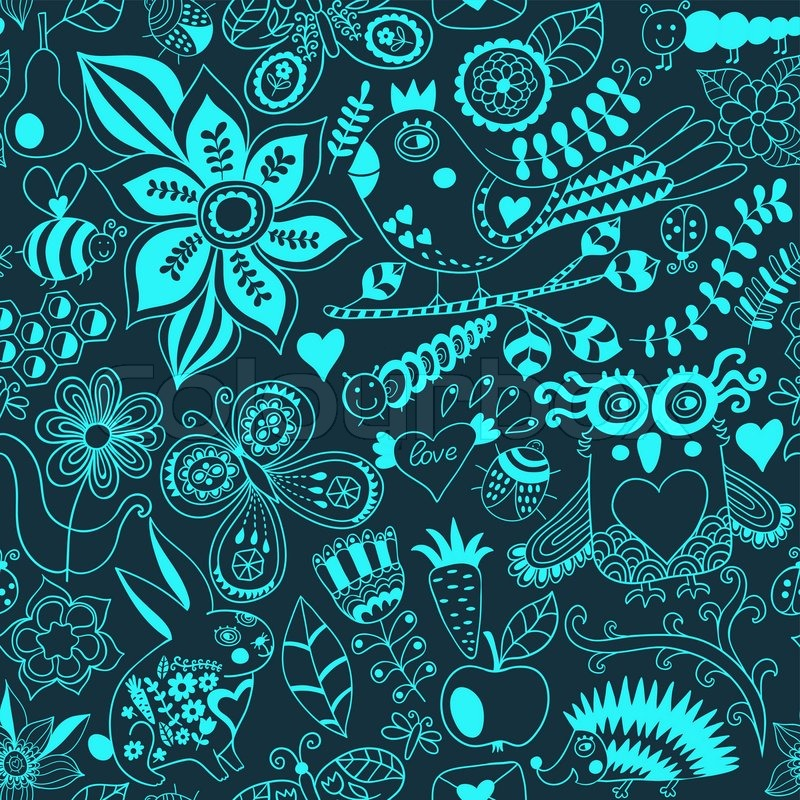 Vector Forest Seamless Pattern Floral Background Owl