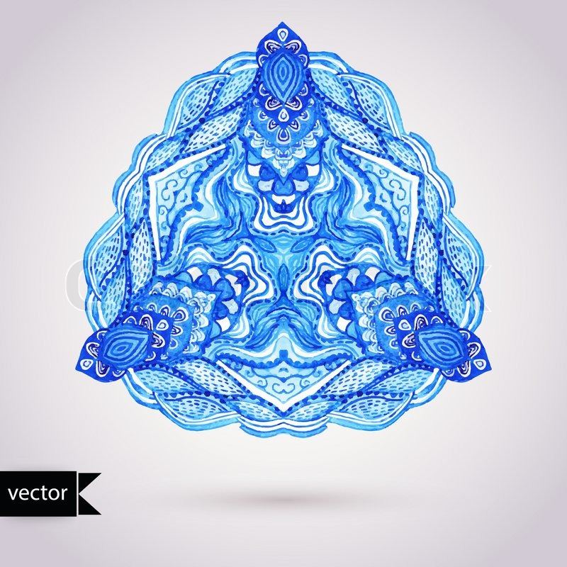 Crocheting Vector : Stock vector of Watercolor vector gzhel. Doily round lace pattern ...