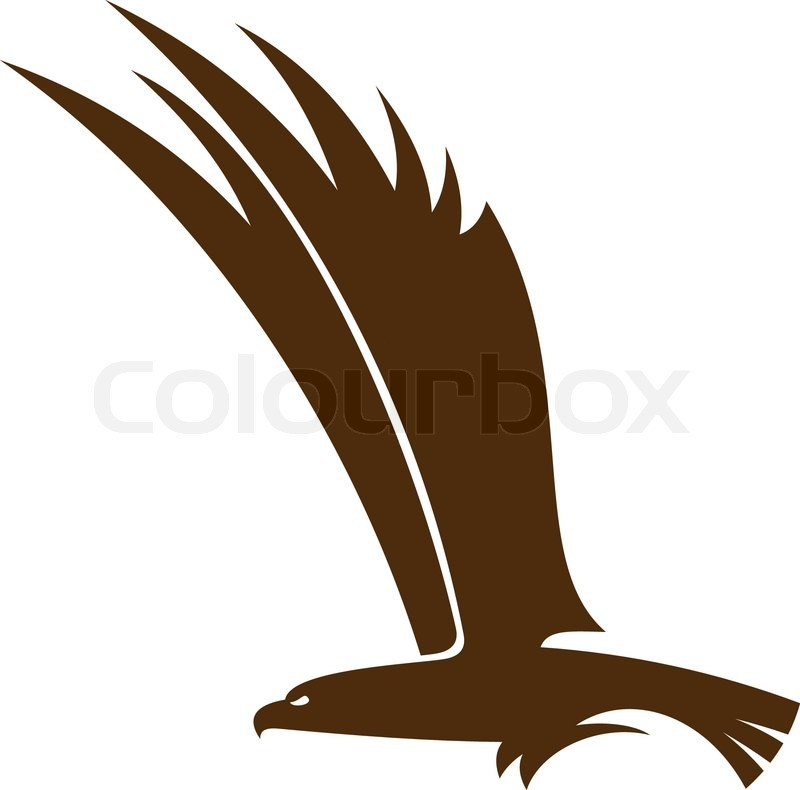 Side view silhouette of a flying falcon or hawk with its ...