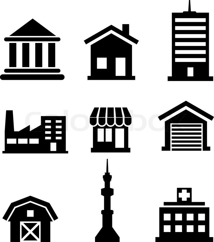 silhouetted buildings and architectural icons depicting