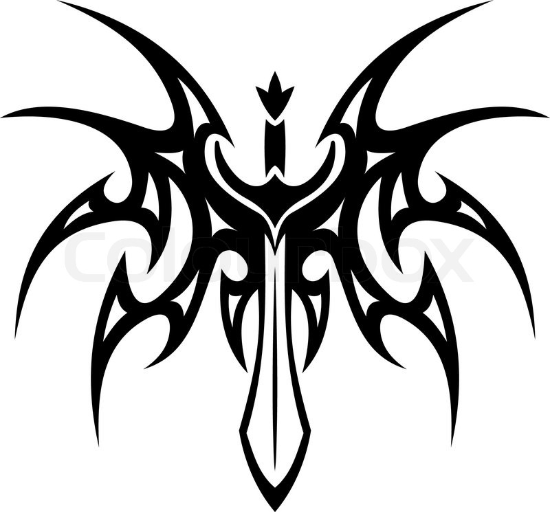 Winged Sword Tattoo With Barbed Feathers In Outspread Graceful Wings