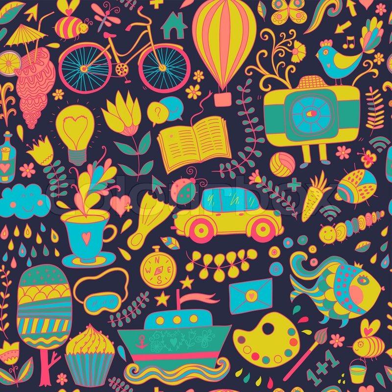 Vector Seamless Pattern, Childish Doodles. Pattern ,set Of