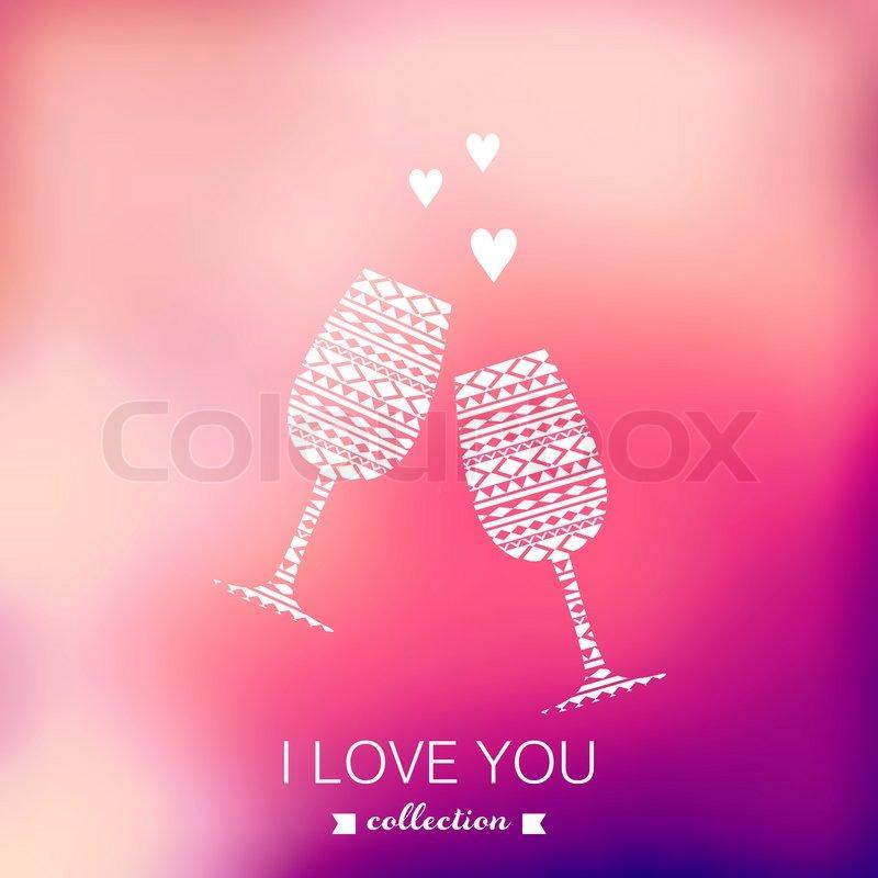Rosa Stilvolle Kulisse Für Sie Text. Grusskarte, Einladung Zur Hochzeit.  ?elebrate. Champagner Gläser. | Vektorgrafik | Colourbox