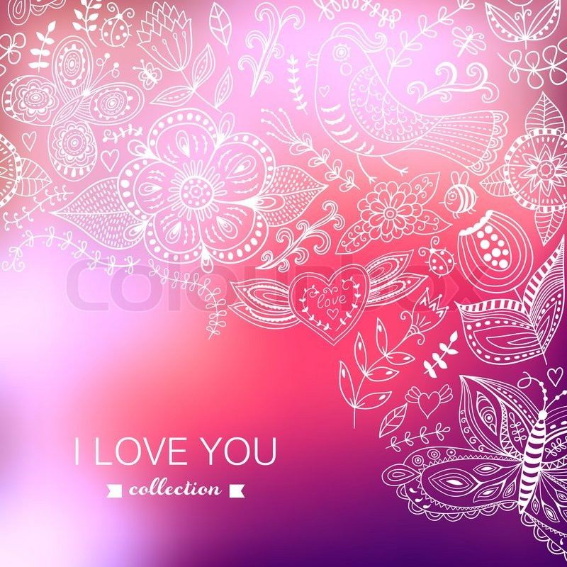 Vector Valentine S Day Background Blurred Template Holiday Invitation Card In Doodles Style