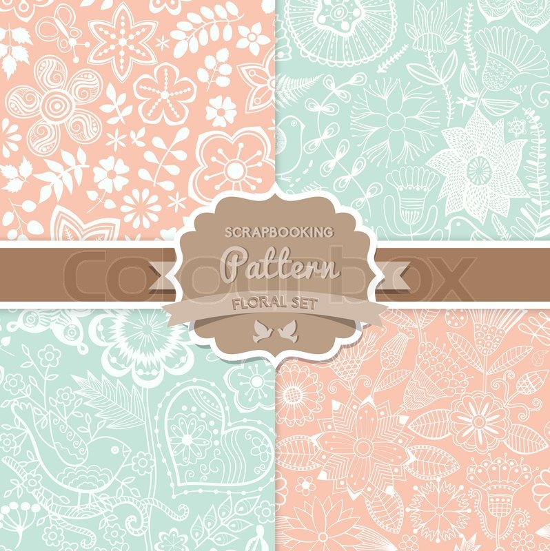 4 Seamless Vector Patterns Shabby Chic Floral Seamlessly