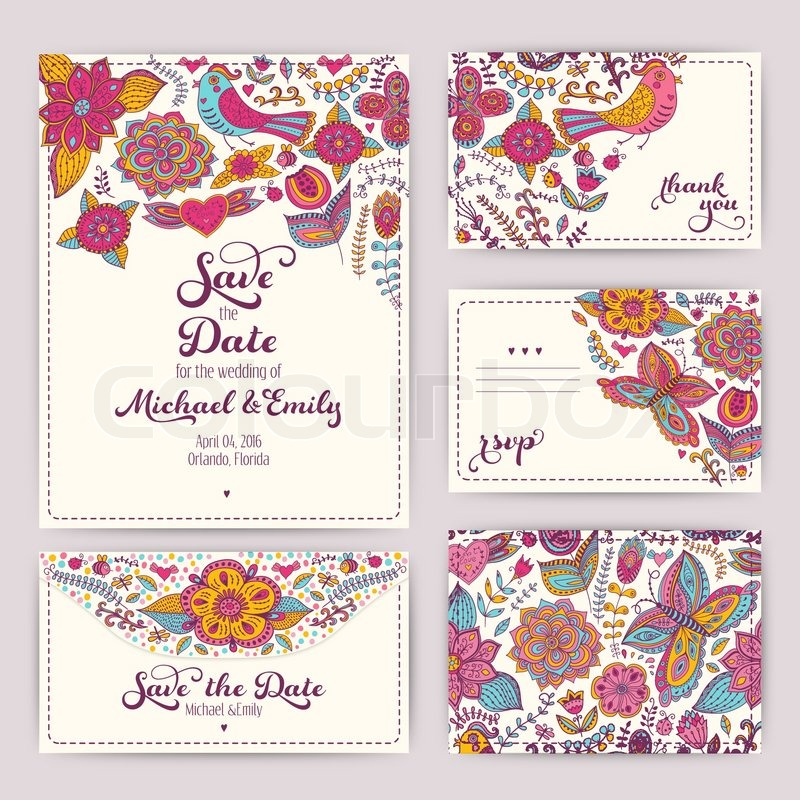 Printable Wedding Invitation Template: invitation, envelope, thank ...