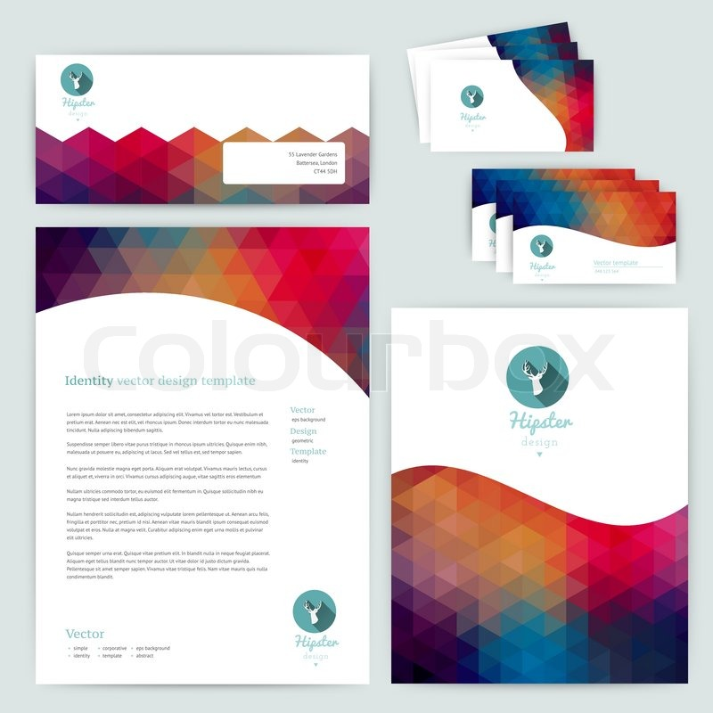 Vector corporate identity wave pattern abstract backdropometric geometric banner design template brand visualization corporate identity business set identity design template card envelope maxwellsz