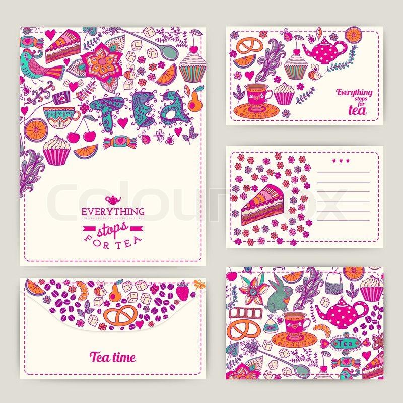 tee branding design. kaffee und tee design set karten. süße muster, Einladung