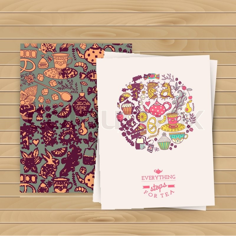 Floral Grußkarte. Tee Branding Design. Kaffee und Tee Design set ...