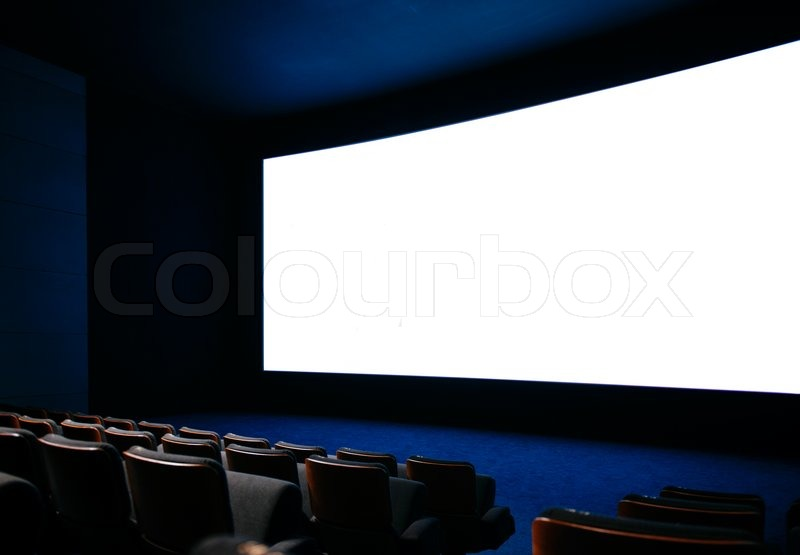 Stock image of 'Cinema auditorium with large screen and empty seats'