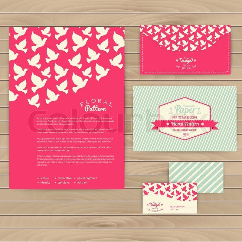 Set of floral vintage wedding cards on wood texture, invitations ...