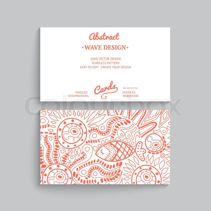 vector simple business card template with decorative ornament original design wave decoration minimalistic design seamless pattern is masked and