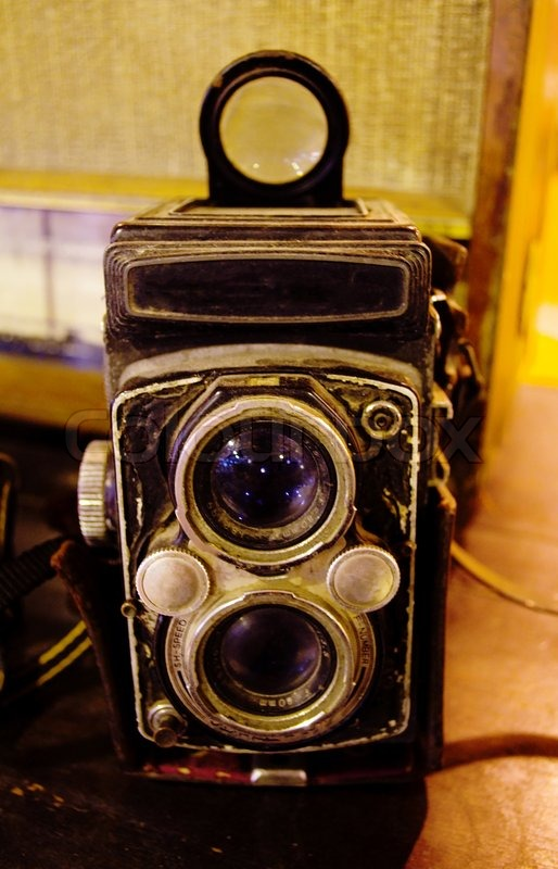 Traditional cameras were preserved in a museum, stock photo