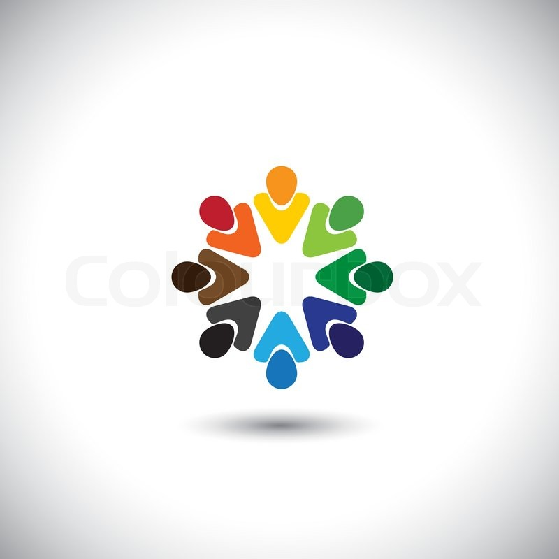 Abstract colorful people together as circle concept vector this abstract colorful people together as circle concept vector this graphic also represents internet community team work and team building social media sciox Images