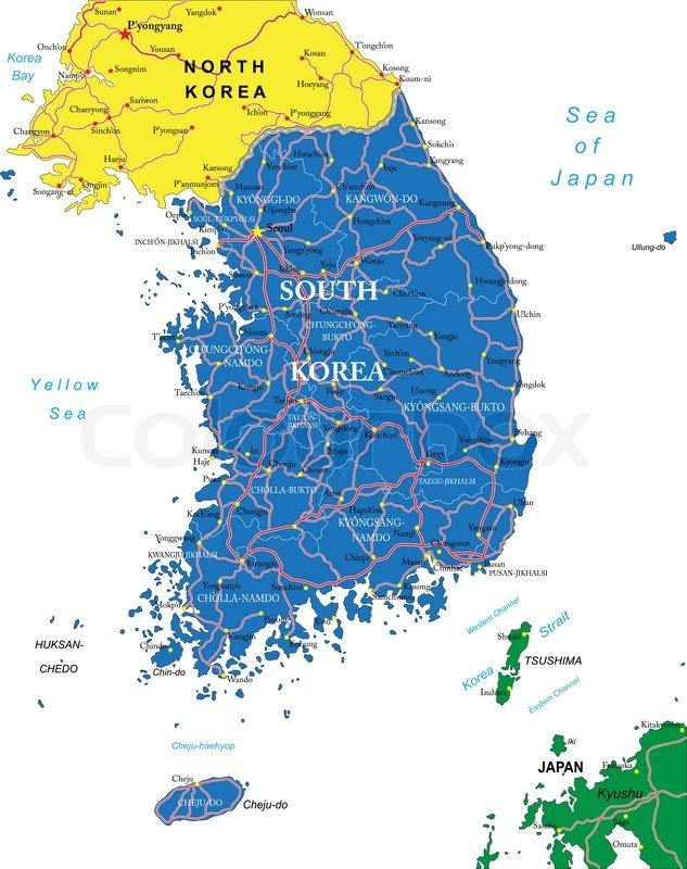 Südkorea Karte.Südkorea Karte Stock Vektor Colourbox