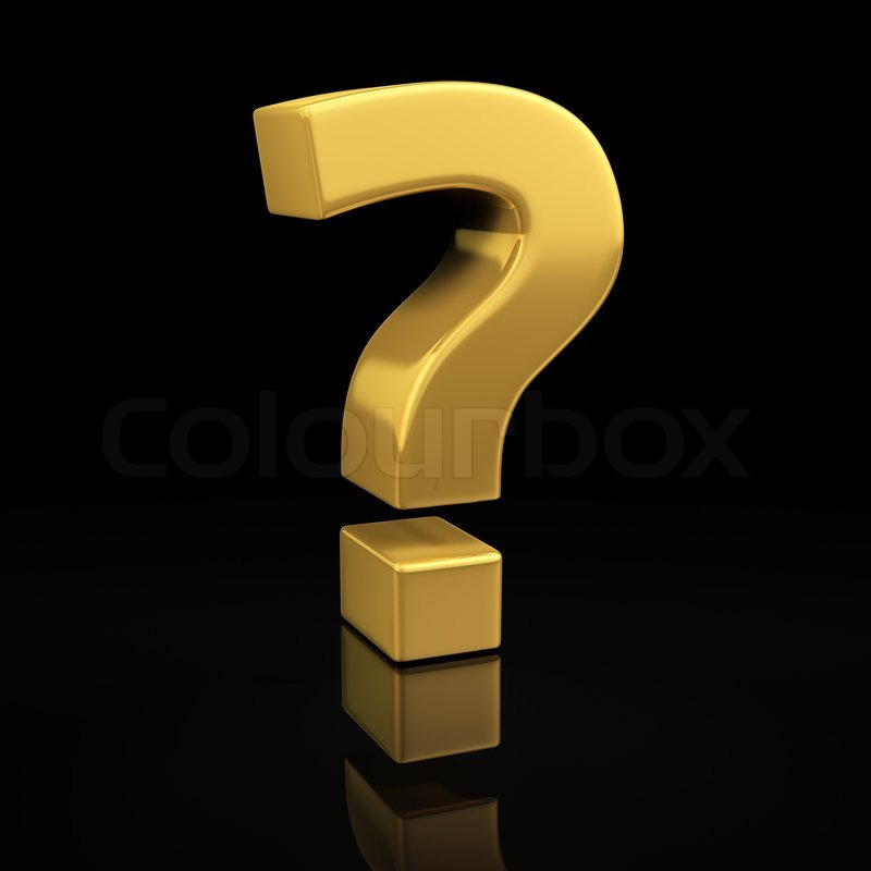 Question mark gold symbol on a black background with ...