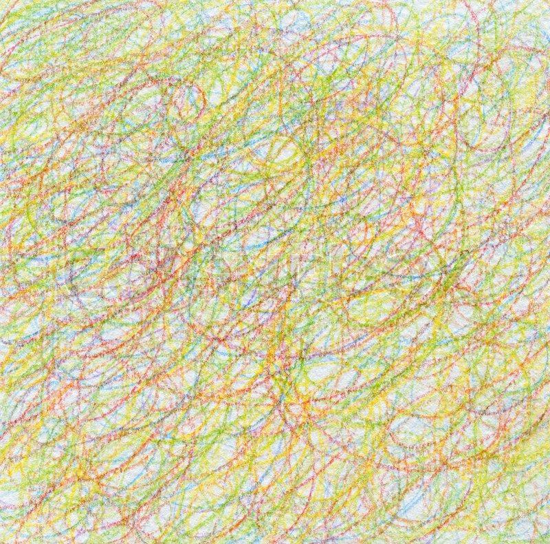 Abstrakte Unentschieden Scribble Farbe Bleistift ...