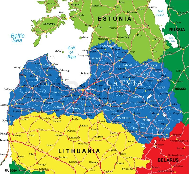 Highly detailed vector map of Latvia with administrative regions