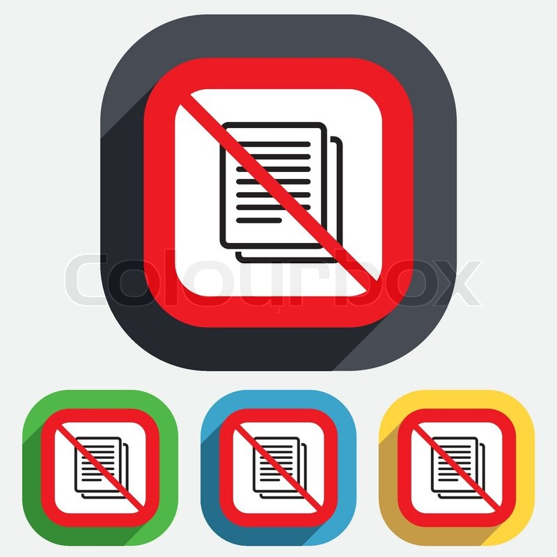 Copy File Not Allowed Sign Icon Duplicate Document Symbol Red