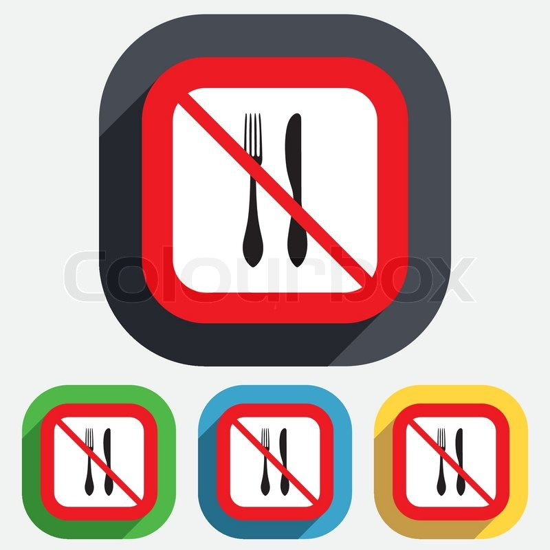 Do Not Eat Sign Icon Cutlery Symbol Knife And Fork Red Square