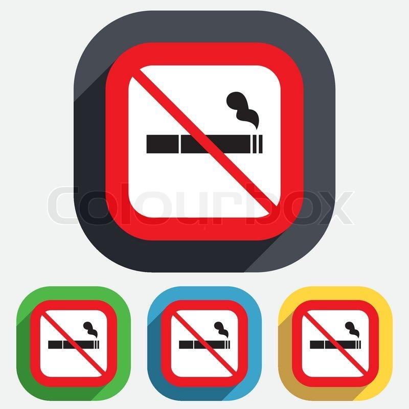 no smoking sign icon cigarette symbol red square prohibition sign