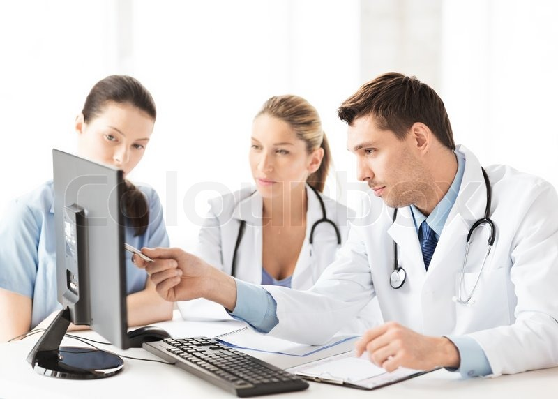 Picture of young team or group of doctors working, stock photo