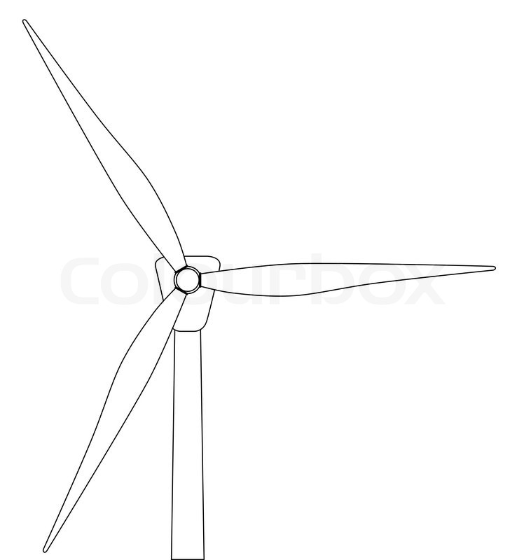 Line Drawing Windmill : Black and white line drawing of a typical wind turbine
