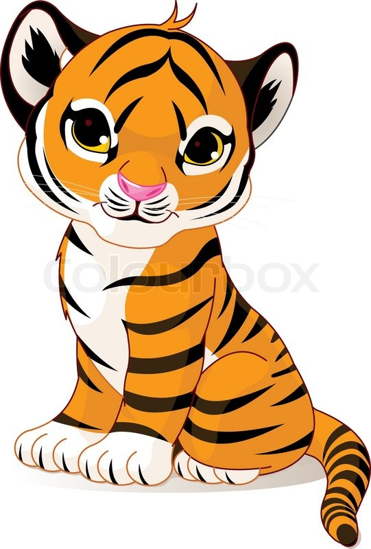 a cute character of sitting tiger cub stock vector colourbox rh colourbox com tiger cub scout clipart tiger cub face clipart