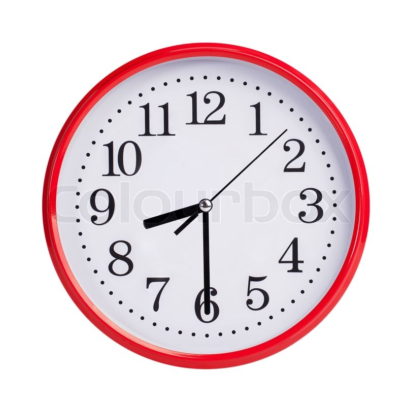 Half past eight on a red round clock face | Stock Photo ...