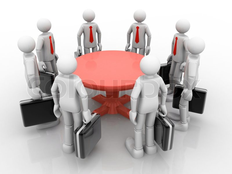 3D Businessmen Standing At A Round Table And Having Business Meeting |  Stock Photo | Colourbox