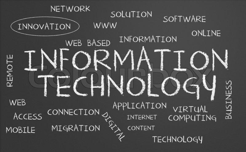 Information Technology Word Cloud Written On A Chalkboard