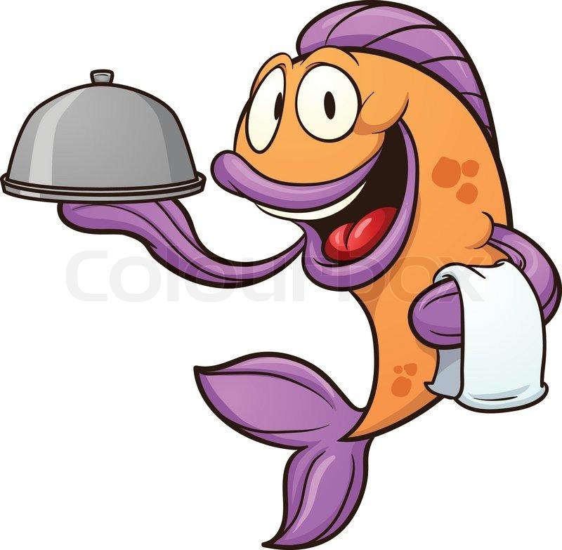 cartoon waiter fish vector clip art illustration with simple rh colourbox com water clipart water clip art free