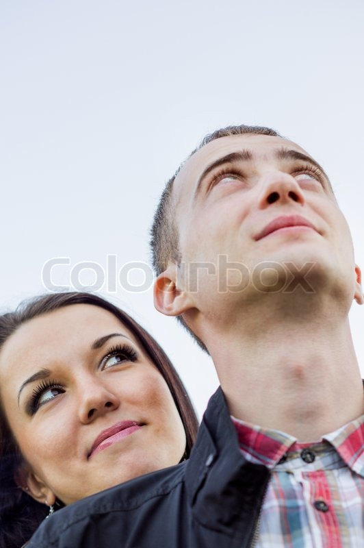 Stock image of 'Young couple outdoors'