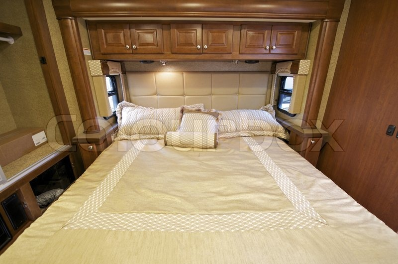 Motorhome Comfortable King Size Bed Inside The Slider RV Interior