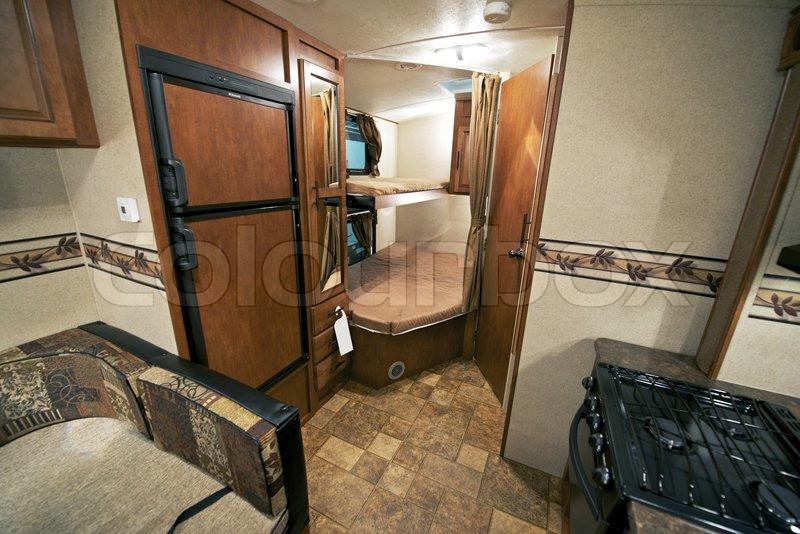 RV Kids Bedroom Sleeping Area Recreation Vehicle Interior Stock Photo
