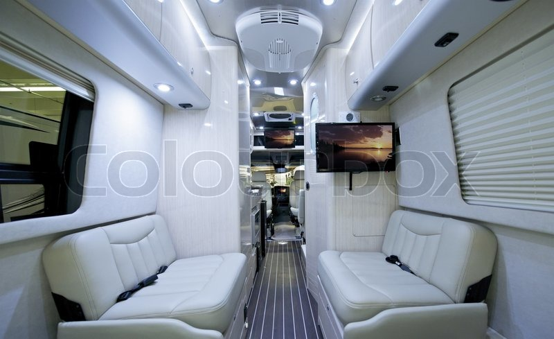Luxury Class B Motorhome. Elegant And Modern, Light RV Interior.  Recreational Vehicle, Stock Photo