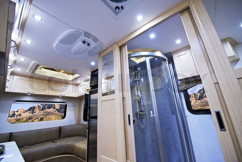 Motorhome Interior. Small Bathroom With Shower And Sleeping Area. Class B  Motorhome. | Stock Photo | Colourbox