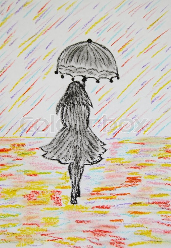 Girl With Umbrella Goes Under A Colored Rain Pastel